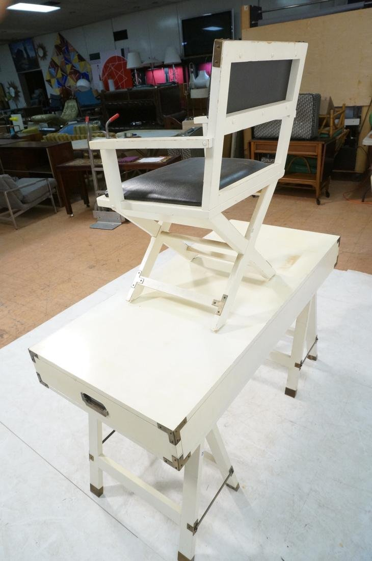 "White painted campaign desk & Chair. Two ""A"" fram - 8"