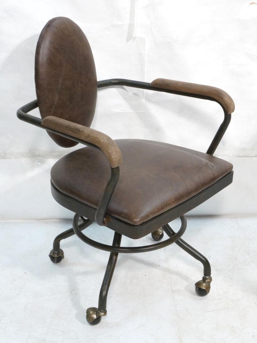 Industrial Style Office Chair. Antiqued metal fin