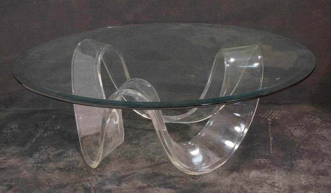 Lucite Modernist Helix Form Coffee Cocktail Table