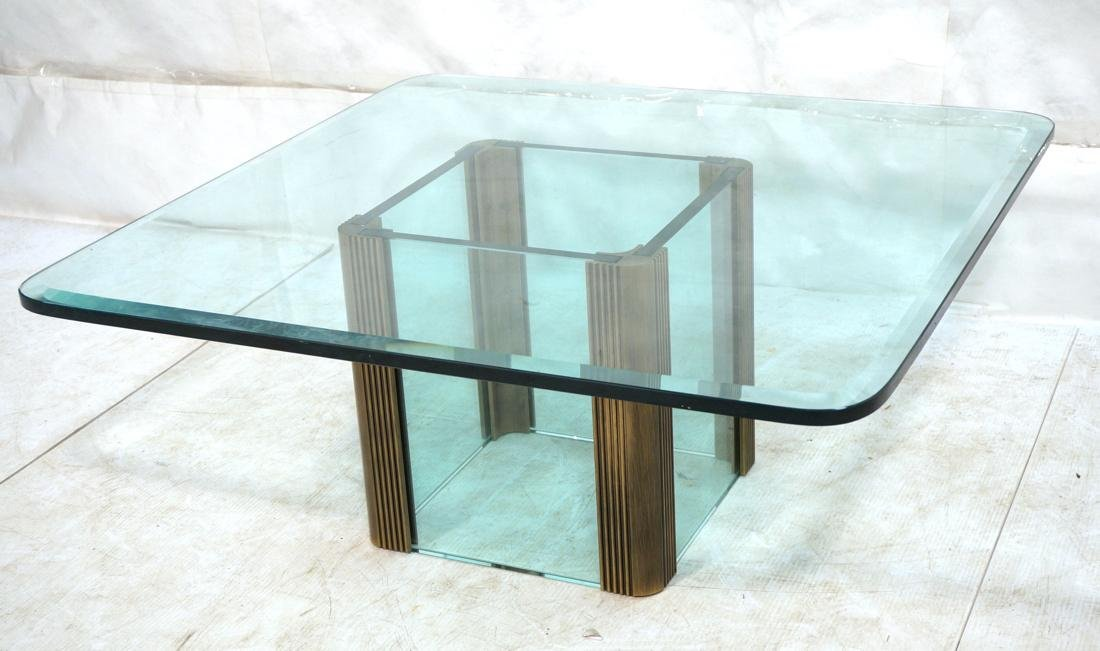 Contemporary Square Glass Coffee Cocktail Table.