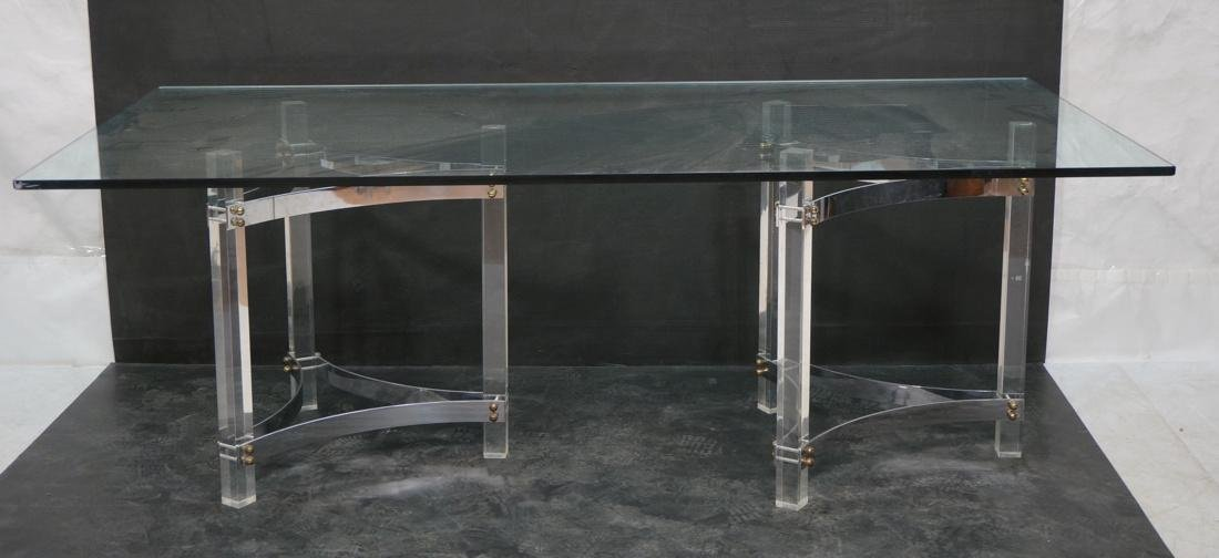 Large Glass & Lucite Dining Table. 3/4 inch thick