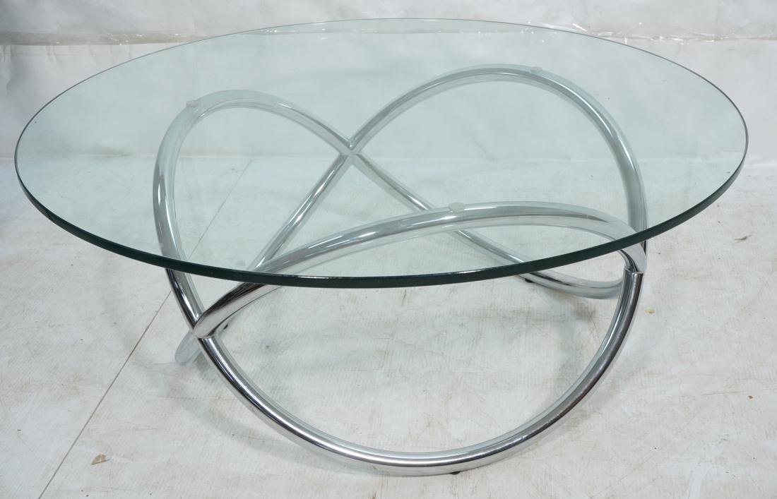 Modernist Chrome and Glass Cocktail Coffee Table.