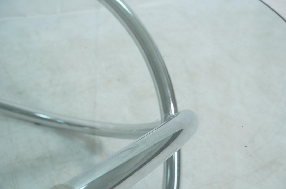 Modernist Chrome and Glass Cocktail Coffee Table. - 3