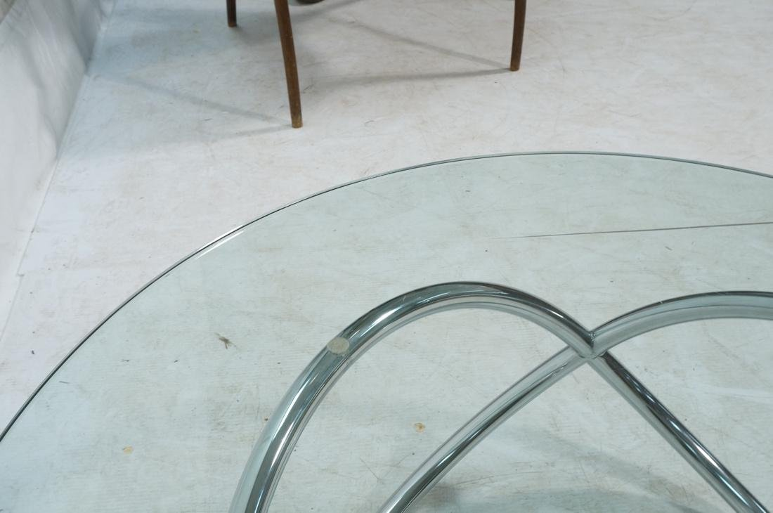 Modernist Chrome and Glass Cocktail Coffee Table. - 6