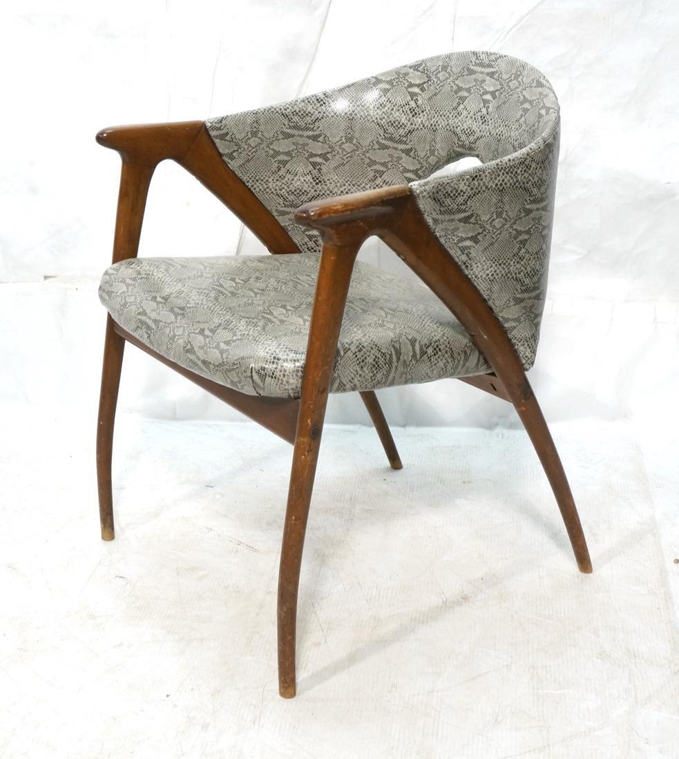 Modern Barrel Back Side Chair Wood Frame Saber Le