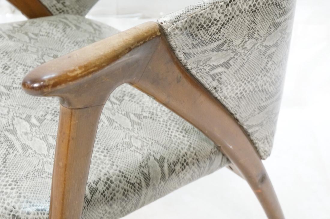 Modern Barrel Back Side Chair Wood Frame Saber Le - 4