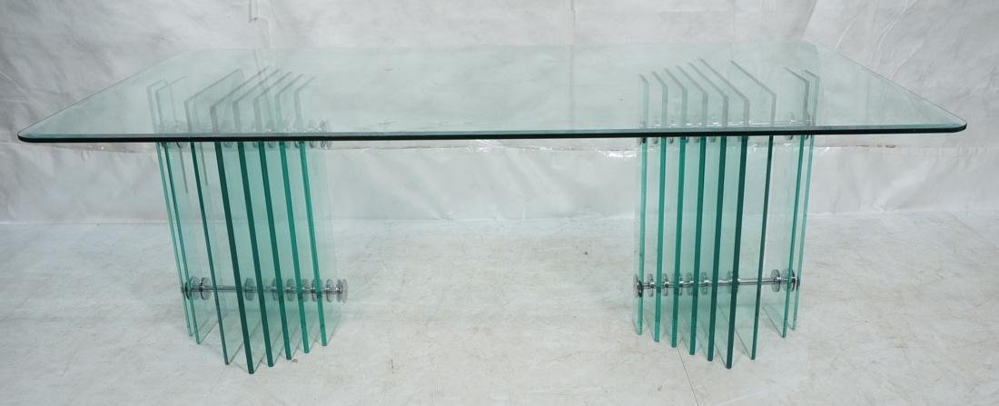 Pace Collection Glass Top Modern Dining Table. Do