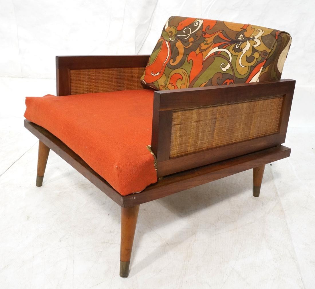 Modernist Wood Framed Lounge Chair Woven Panel Ar