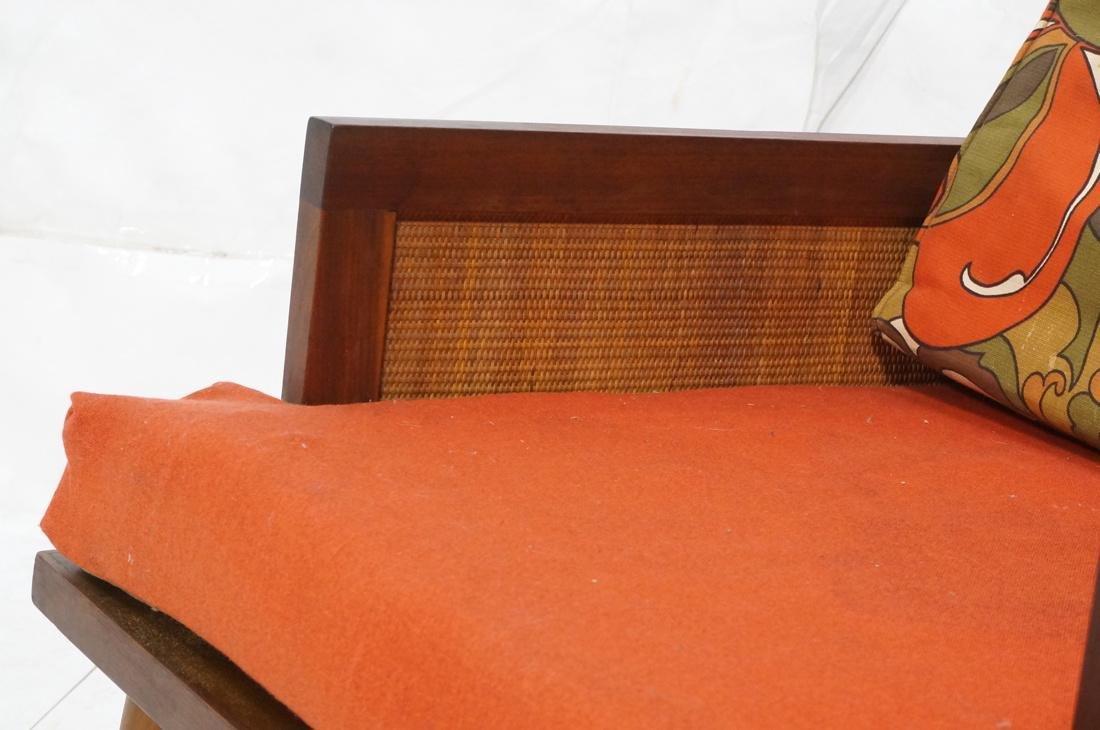 Modernist Wood Framed Lounge Chair Woven Panel Ar - 3