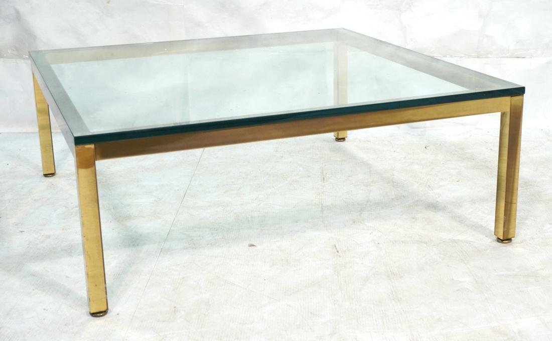 Modernist Brass Tone Square Frame Coffee Table. 3