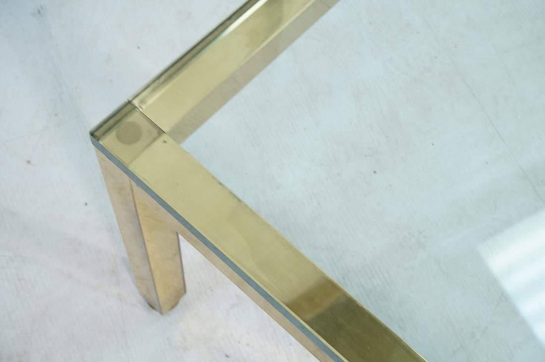 Modernist Brass Tone Square Frame Coffee Table. 3 - 4