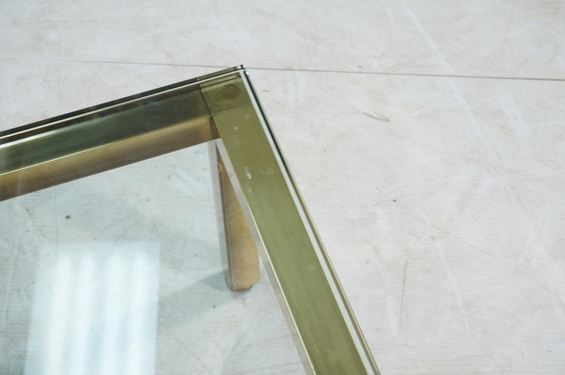 Modernist Brass Tone Square Frame Coffee Table. 3 - 5