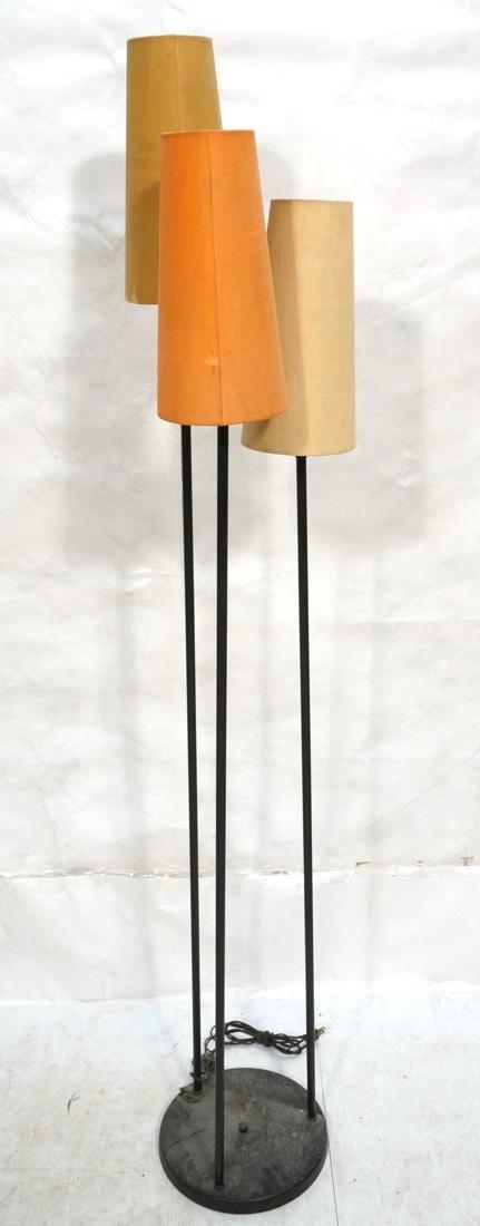 Modernist Black Metal 3 Shade Floor Lamp. 3 black