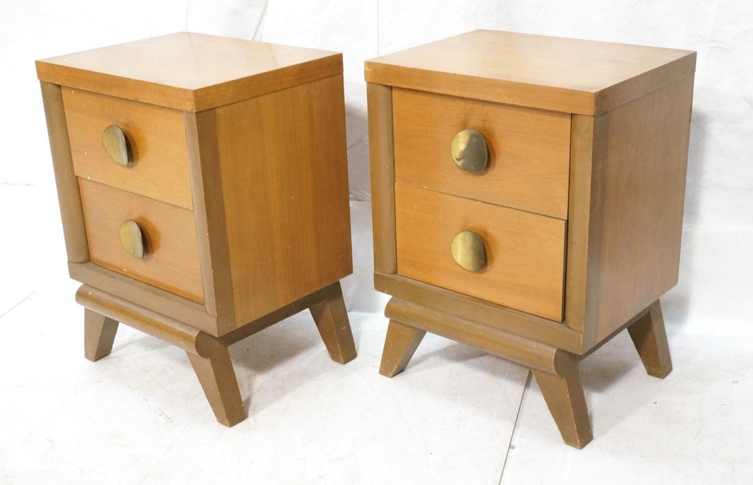 Pr 2 Drawer Night Stands. 2 tone wood cabinets wi