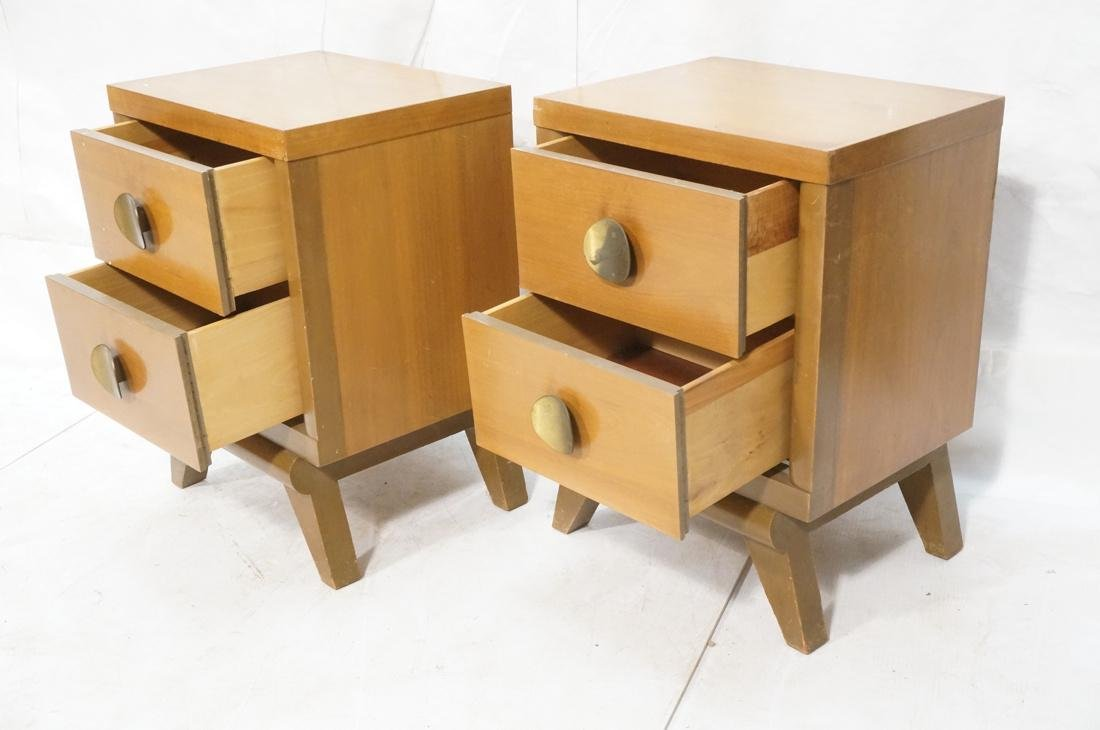 Pr 2 Drawer Night Stands. 2 tone wood cabinets wi - 2