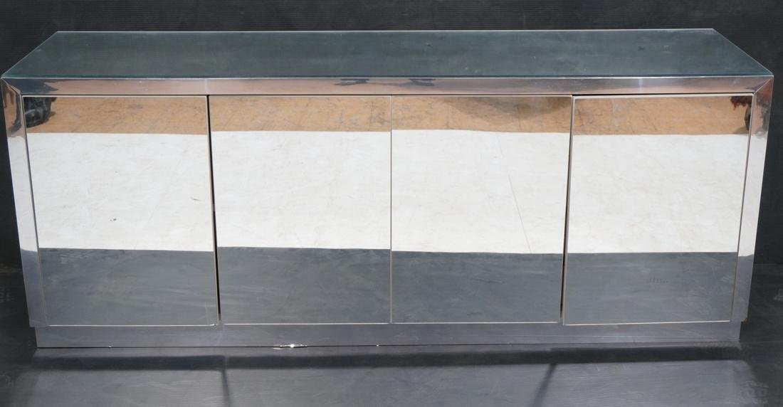 Mirrored 4 Door Modernist Credenza Sideboard. Sid