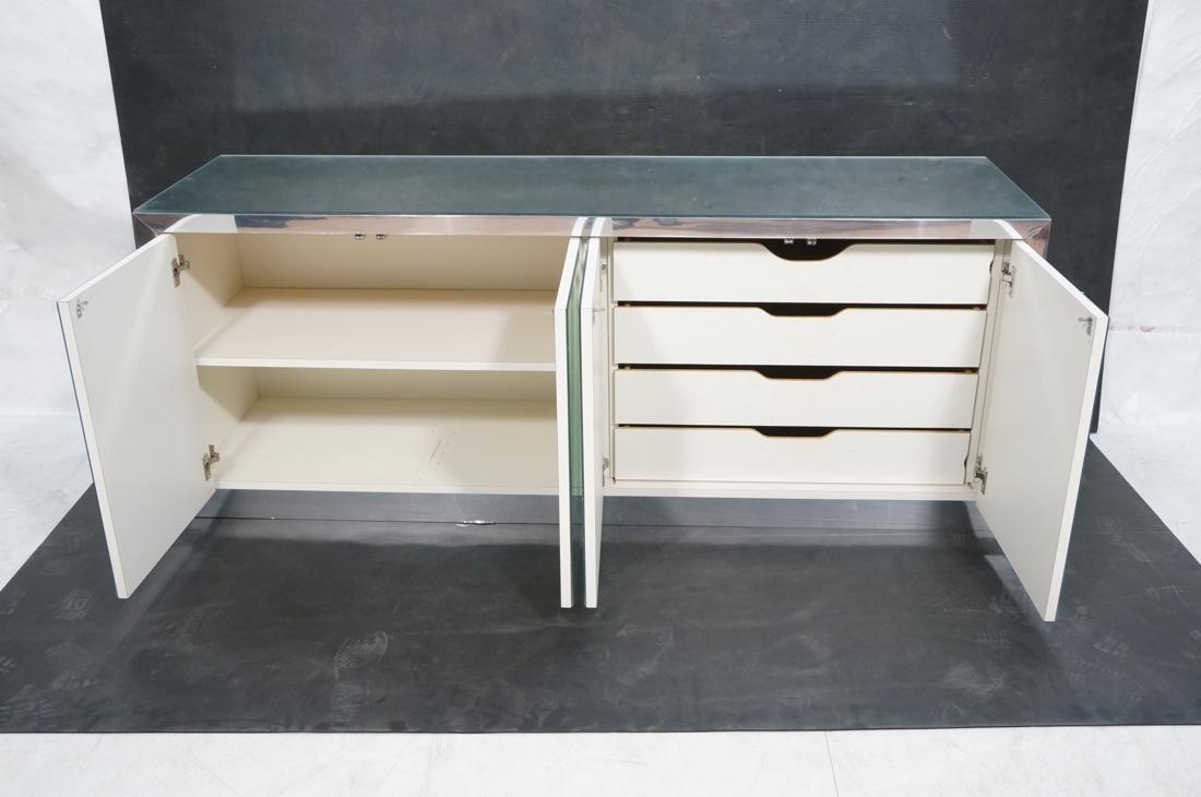 Mirrored 4 Door Modernist Credenza Sideboard. Sid - 2