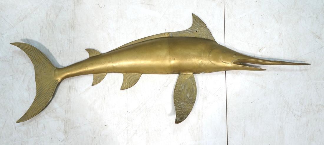 Solid Brass Swordfish Wall Sculpture