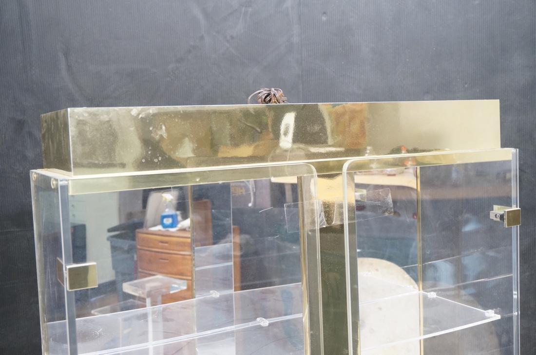 Decorator Lucite Brass 2 Door Display Cabinet. Lu - 2