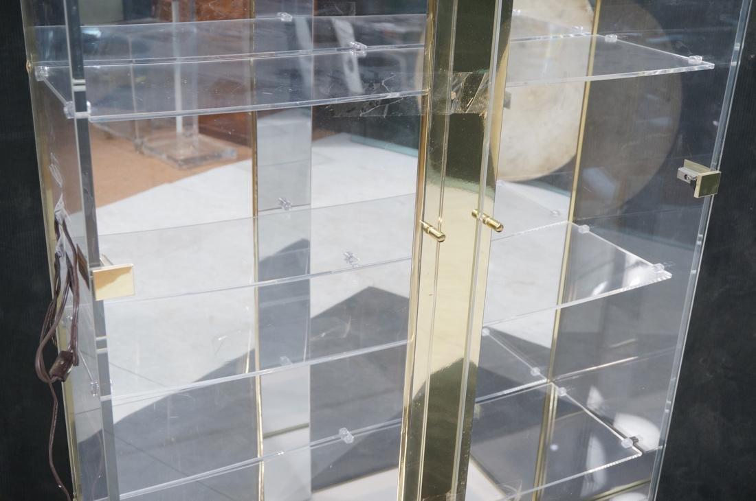 Decorator Lucite Brass 2 Door Display Cabinet. Lu - 3