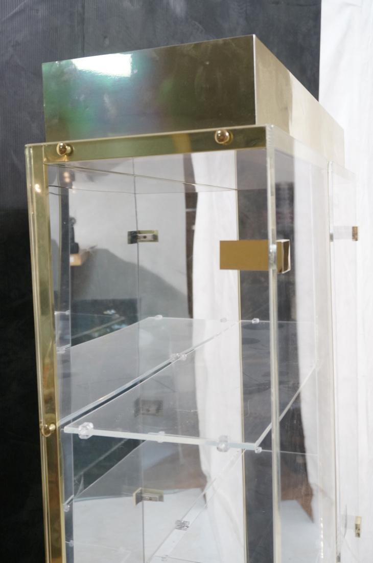 Decorator Lucite Brass 2 Door Display Cabinet. Lu - 6