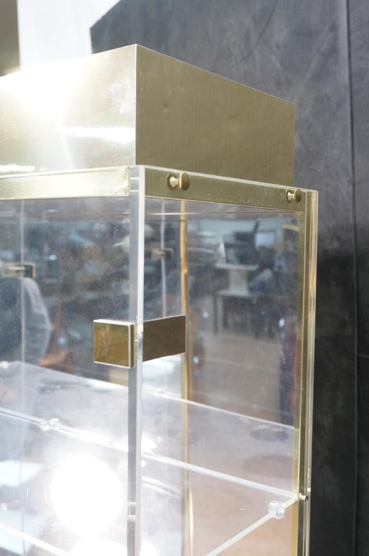 Decorator Lucite Brass 2 Door Display Cabinet. Lu - 7