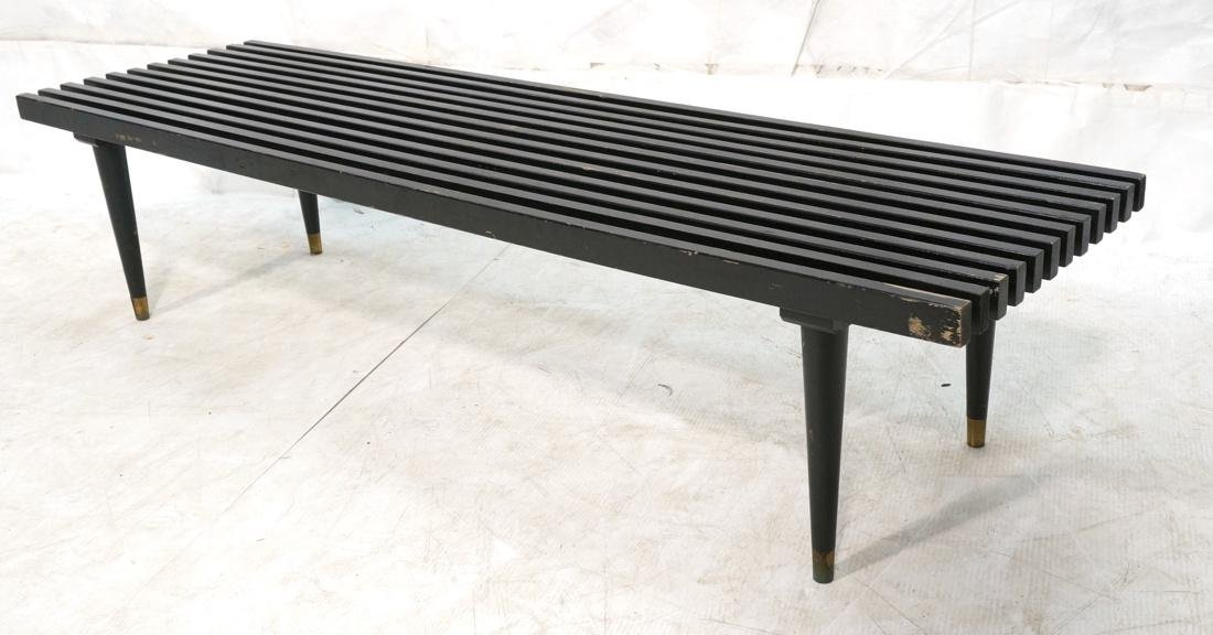 Slat Bench Coffee Table. Black Slats with metal s
