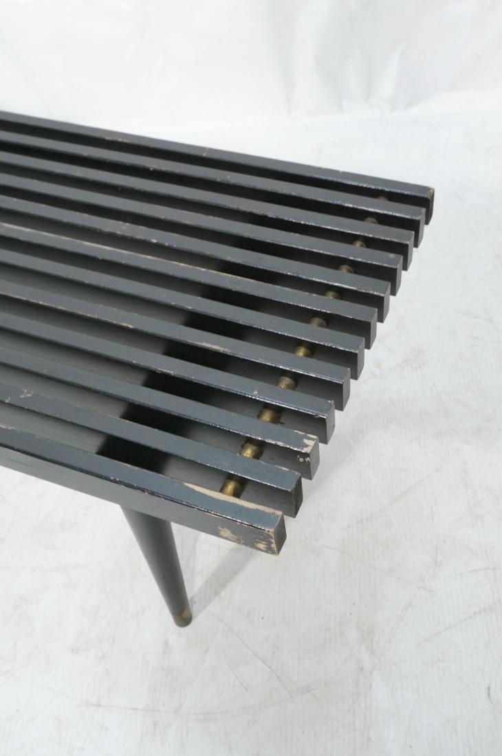 Slat Bench Coffee Table. Black Slats with metal s - 2