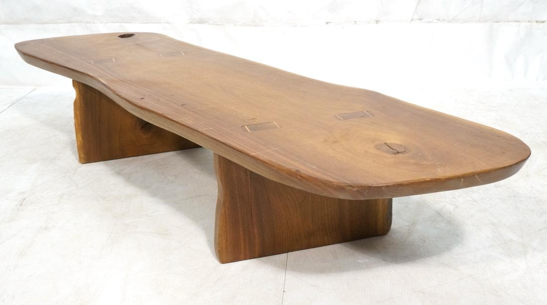 Signed PAUL J  Wood Slab Coffee Table. Mortise &
