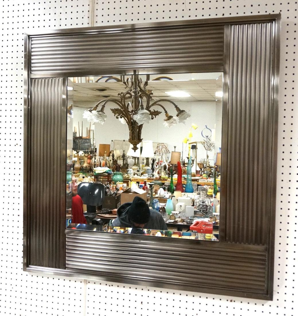 Stainless Framed Contemporary Wall Mirror. Bevele