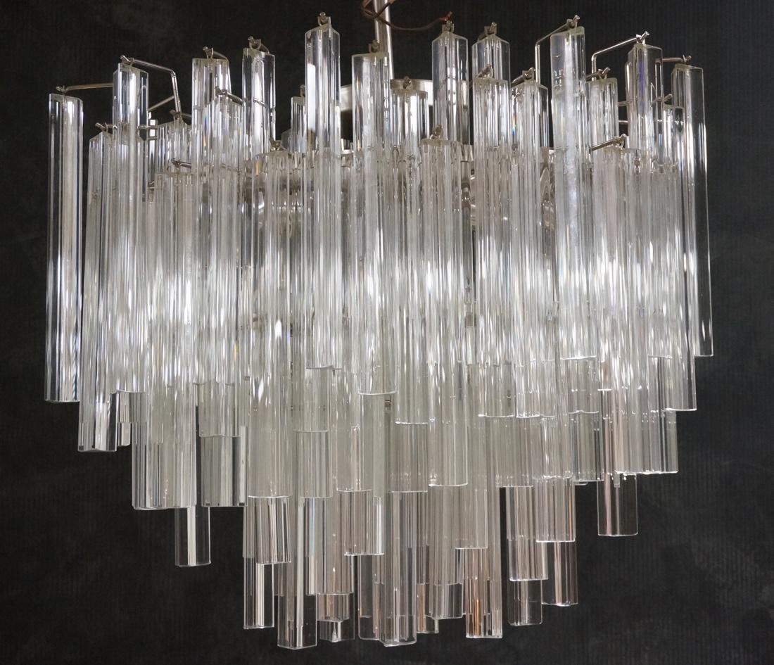 CAMER 3 sided Glass Prism Chandelier. Oval chrome