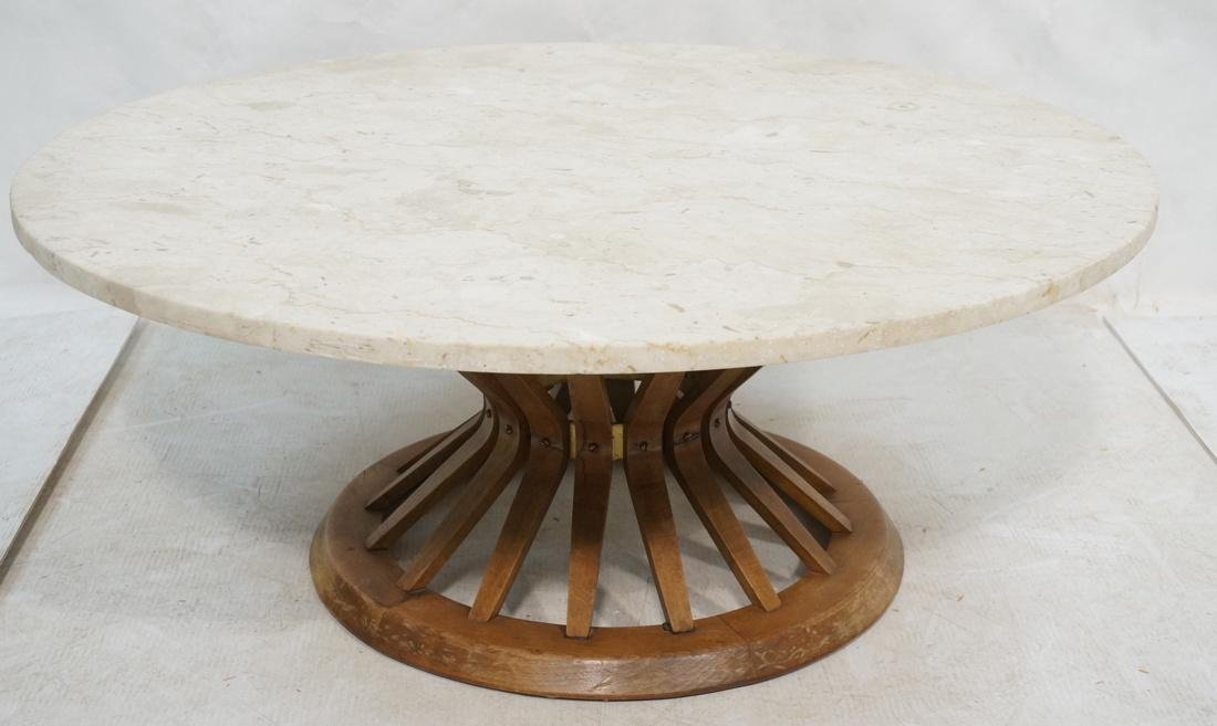DUNBAR Style Round Stone Top Cocktail Table. Cors