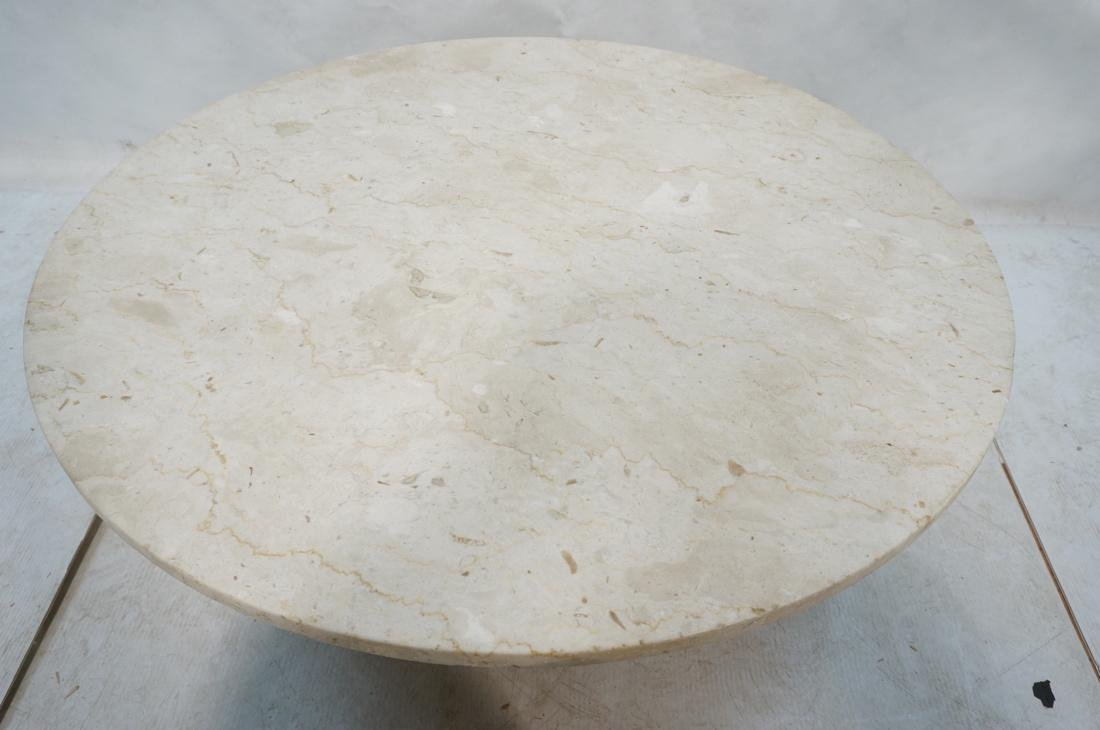 DUNBAR Style Round Stone Top Cocktail Table. Cors - 2