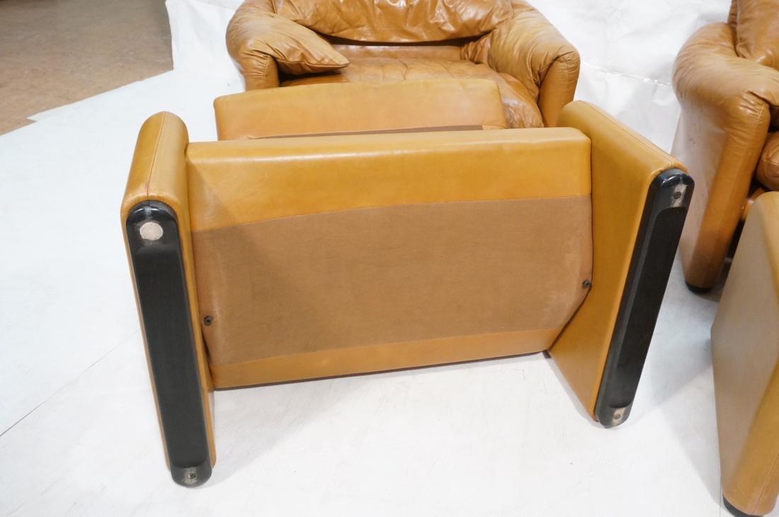Pr Caramel Leather Lounge Chairs with Ottomans. Cassina - 10