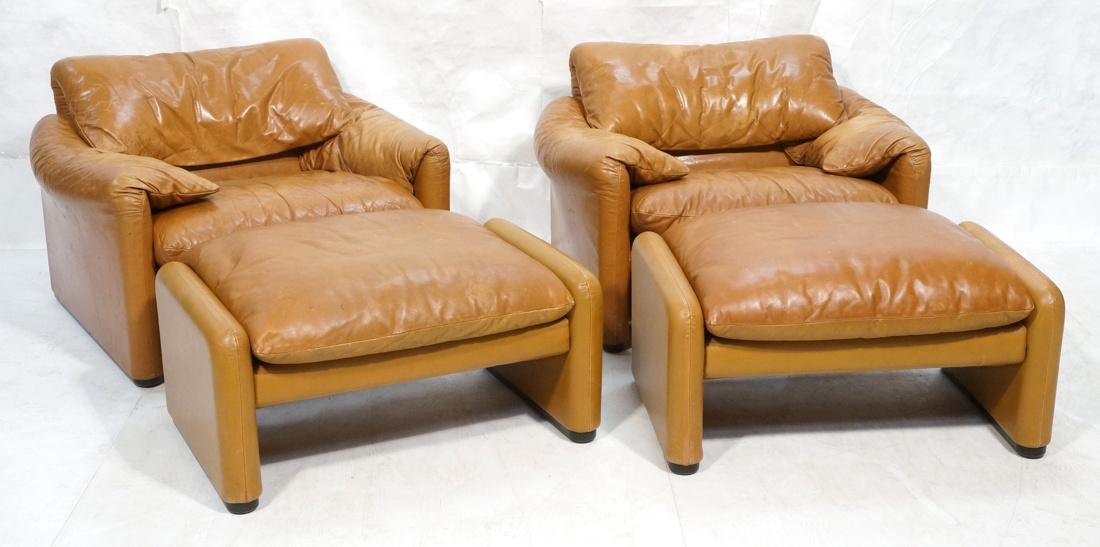Pr Caramel Leather Lounge Chairs with Ottomans. Cassina