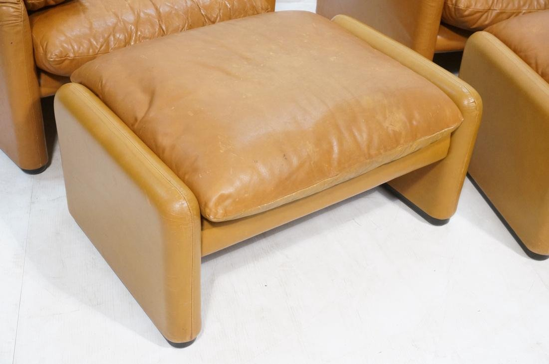 Pr Caramel Leather Lounge Chairs with Ottomans. Cassina - 2