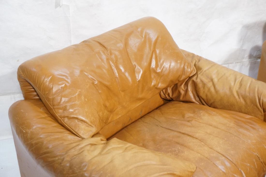 Pr Caramel Leather Lounge Chairs with Ottomans. Cassina - 3