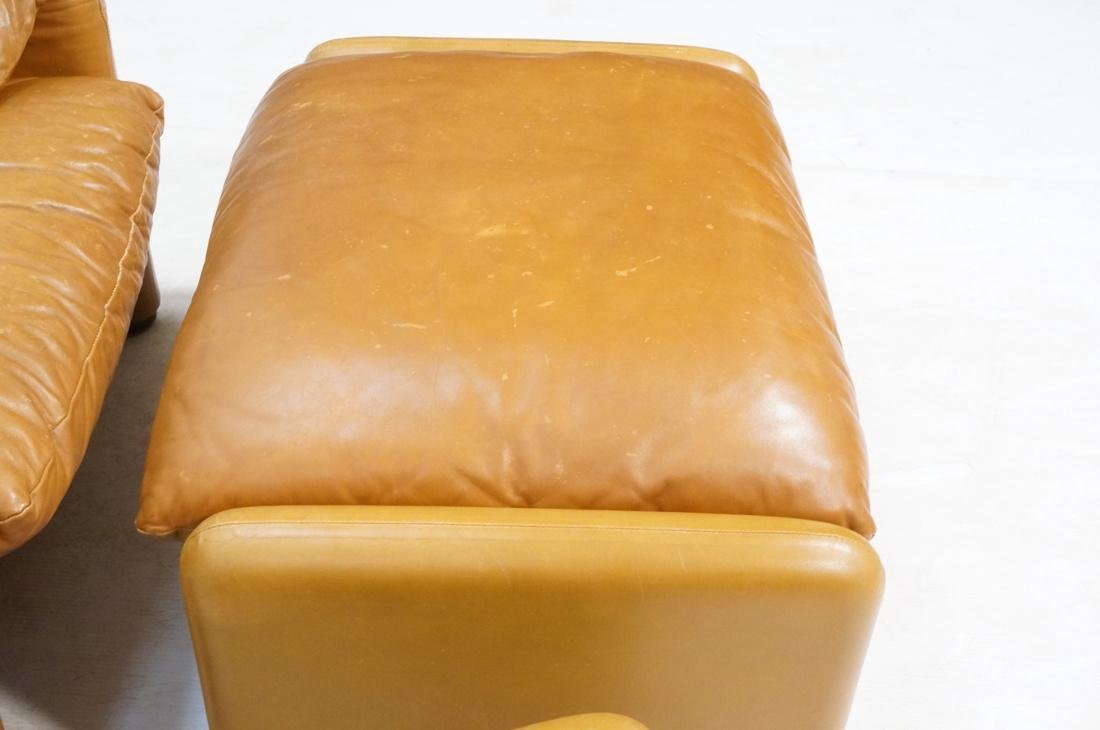 Pr Caramel Leather Lounge Chairs with Ottomans. Cassina - 5