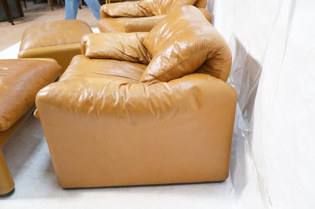 Pr Caramel Leather Lounge Chairs with Ottomans. Cassina - 9