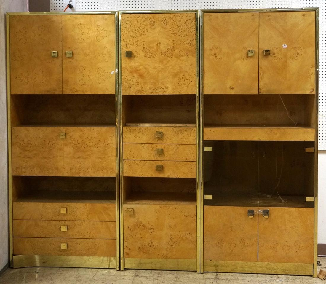 Founders 3 Section Brass Burled Maple Wall Unit.