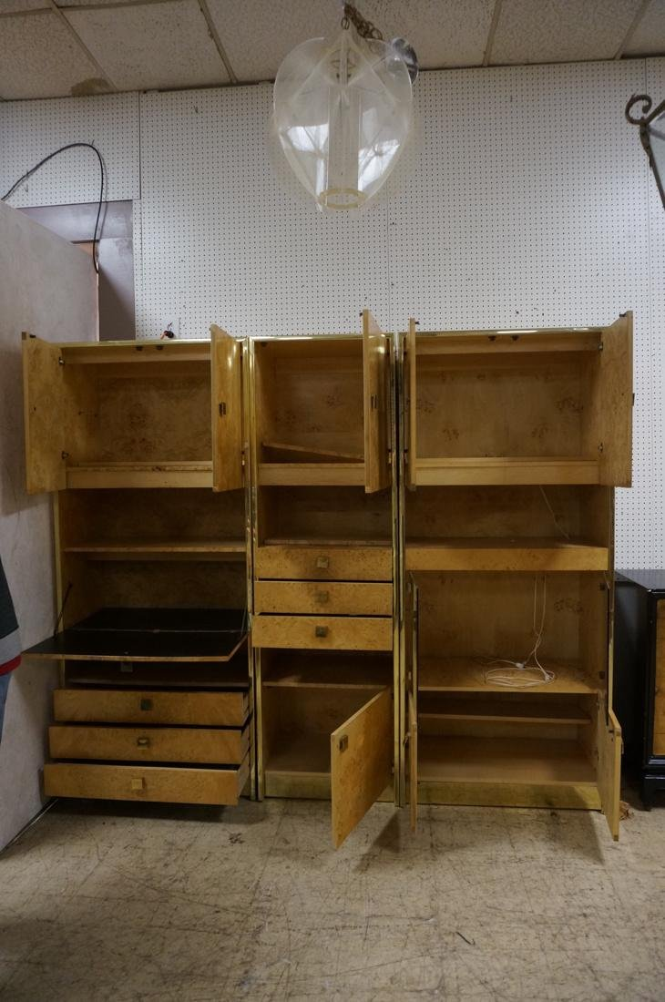 Founders 3 Section Brass Burled Maple Wall Unit. - 2