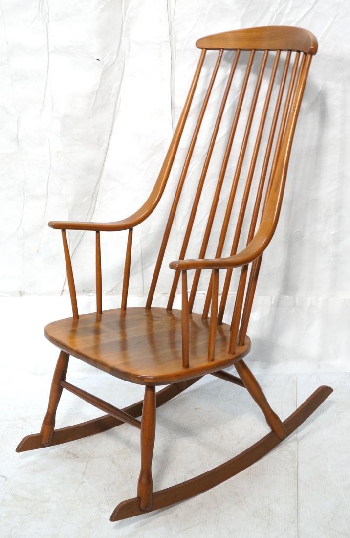 Modern Tall Back Spindle Rocker Rocking Chair