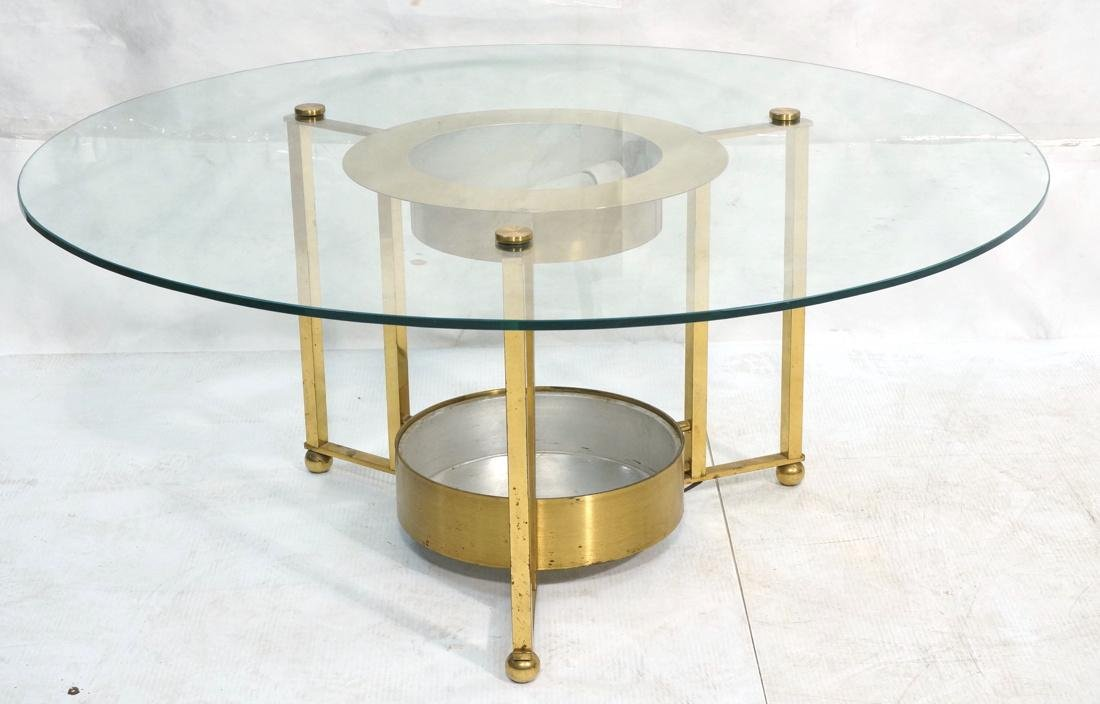 DOROTHY THORPE Style Brass Coffee Table. Round Gl