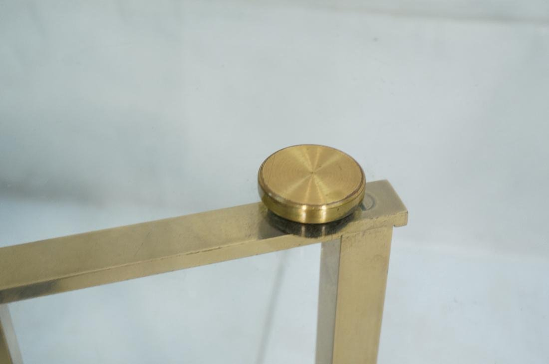 DOROTHY THORPE Style Brass Coffee Table. Round Gl - 6