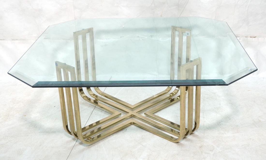Gold Toned Metal Base Glass Top Cocktail Table. B