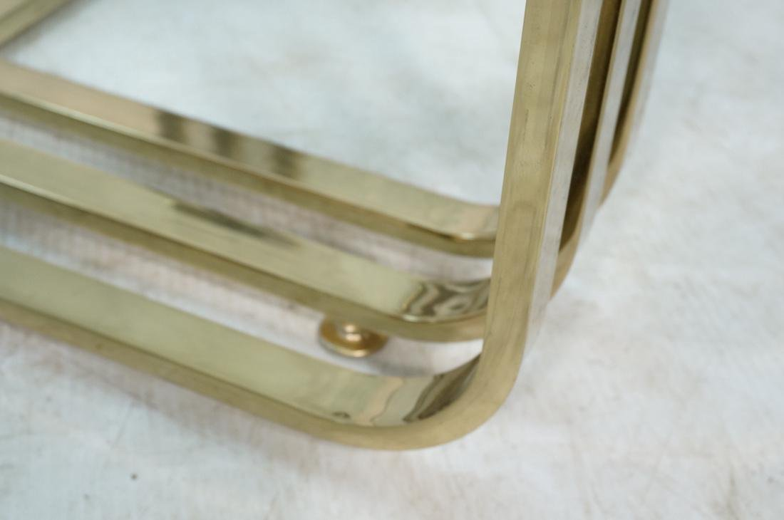 Gold Toned Metal Base Glass Top Cocktail Table. B - 3