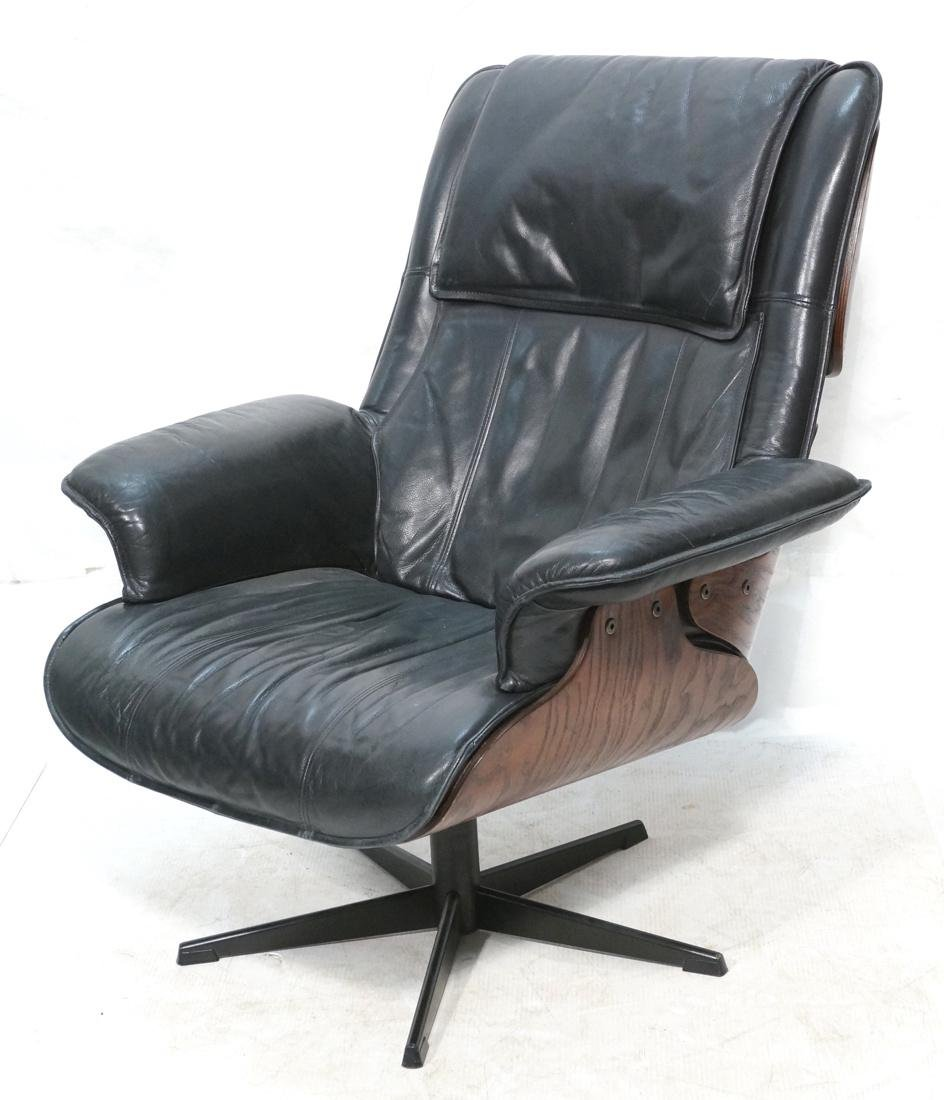Plycraft Style Dark Blue Leather Lounge Chair. Bl