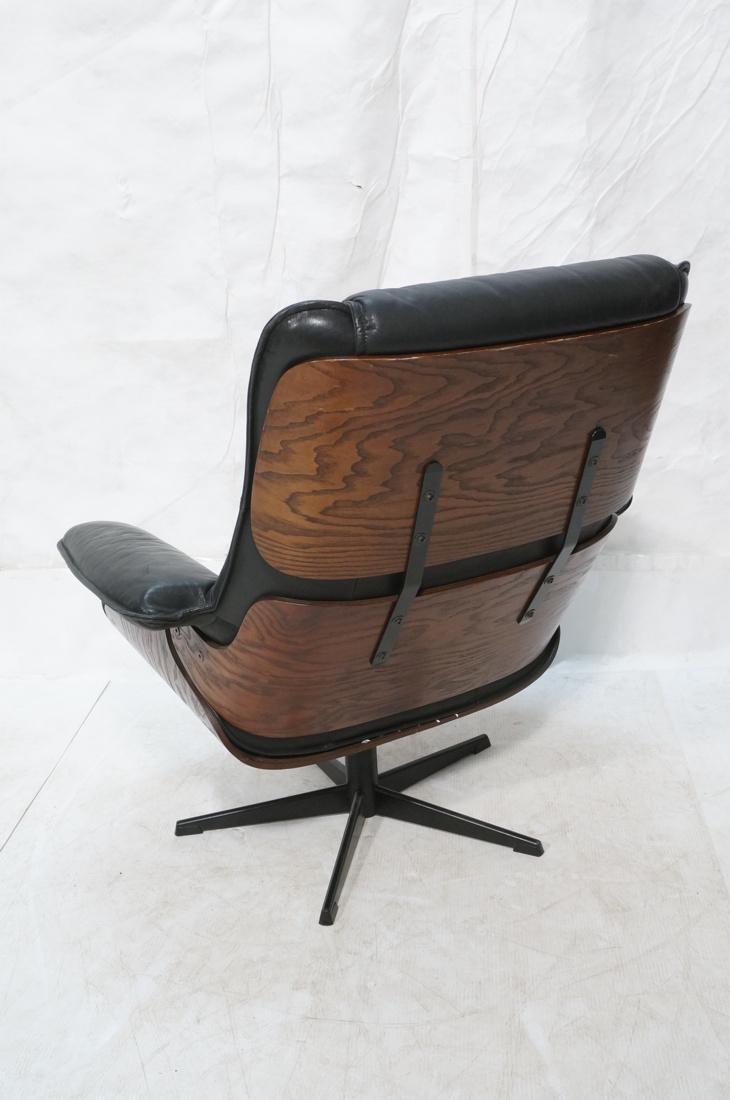 Plycraft Style Dark Blue Leather Lounge Chair. Bl - 6