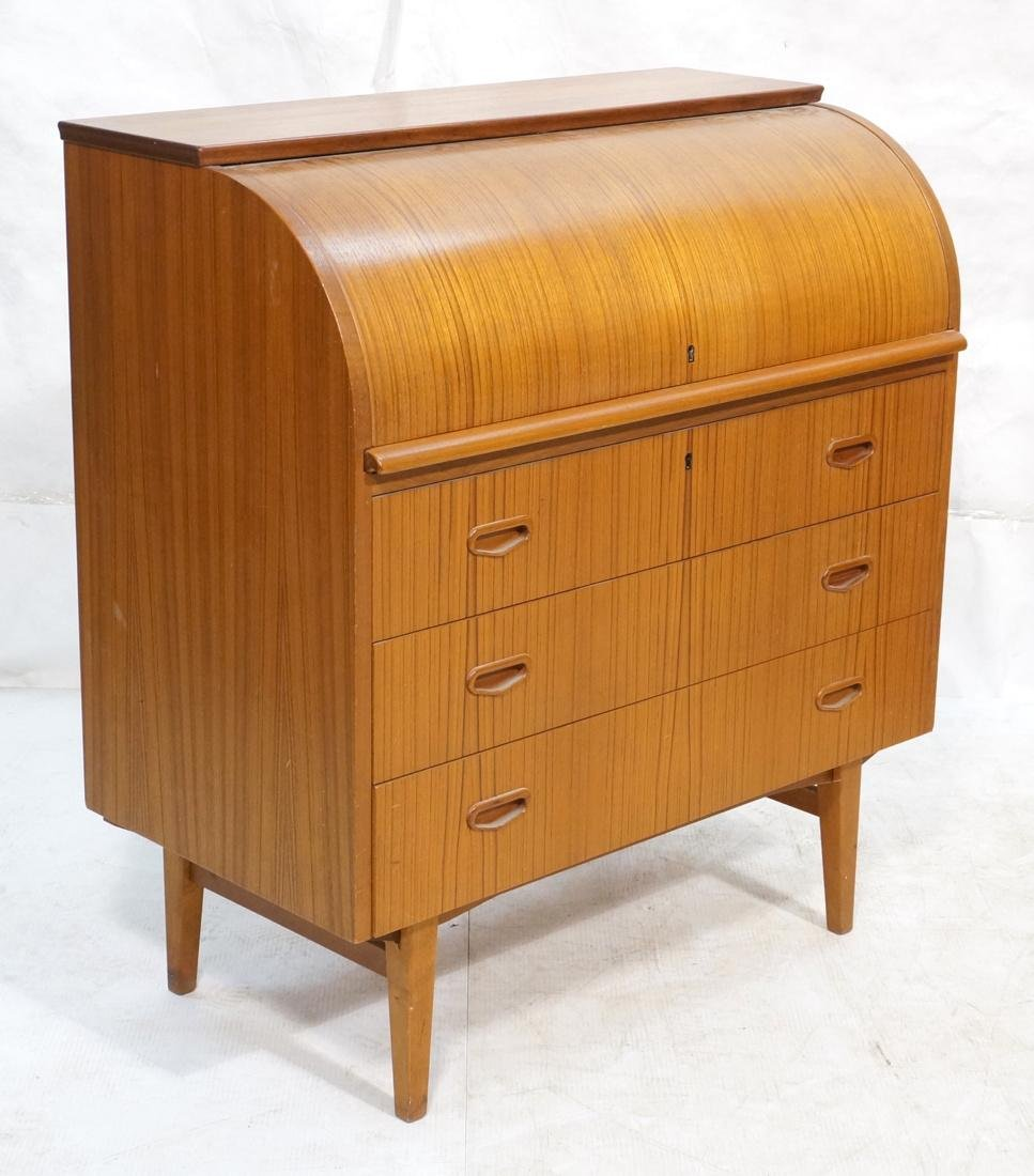 Danish Teak Roll Top Desk 3 Drawers below Roll to