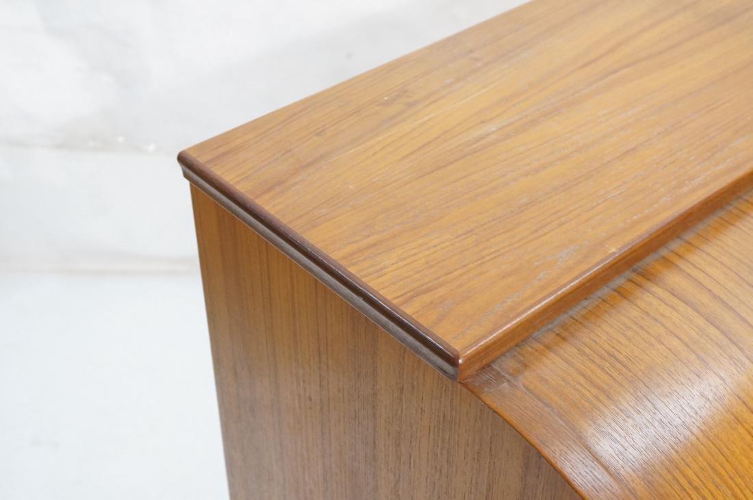 Danish Teak Roll Top Desk 3 Drawers below Roll to - 3
